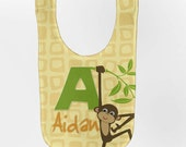 Monkey Baby Bib - Personalized Jungle, Zoo Infant Bib