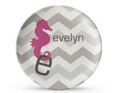 Personalized Plate, Chevron Plate, Personalized Seahorse Children's  Melamine  Plate