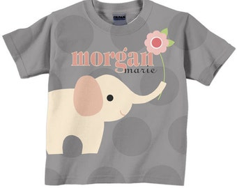 Girls Elephant Shirt, Personalized Gray Dotted Tee Top
