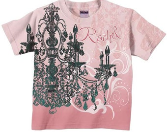 Personalized Girls Pink Chandelier Shirt, Childrens Clothing