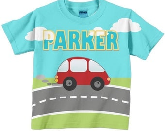 Boys Red Car T-Shirt, Personalized Shirt