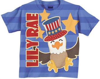 Personalized 4th of July Shirt, Blue Stars and Stripes Eagle T-Shirt