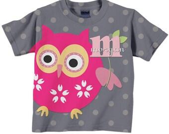Girl's Owl Shirt, Personalized Toddler Tee Polka Dot T-Shirt, Children's Clothing