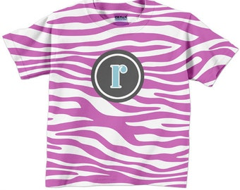 Personalized Girls Zebra Top, Shirt - Pink Zebra Monogram, Children's Clothing