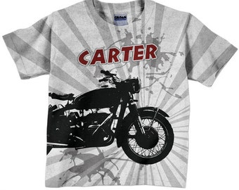 Boys Motorcycle Shirt, Personalized -T-Shirt, Childrens Clothing