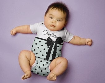 Personalized Baby Girl Bodysuit, Polka Dot Bow in Blue One-Piece