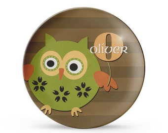 Personalized Plate, Owl Melamine Plate, Personalized Child's Birthday Boy Cake Plate