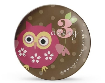 Personalized Plate, Personalized Owl Melamine Plate, Girl's Brown Dots Birthday Party Dish, Dinner Plate