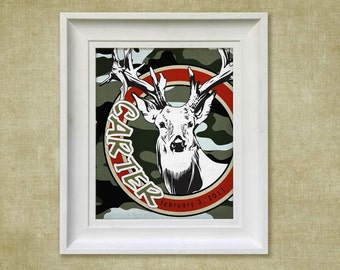 Childrens Art Print - Personalized Camouflauge Deer 8x10 Baby Room Decor
