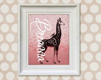 Childrens Art Print - Personalized Pink Giraffe 8x10 Baby Room Decor