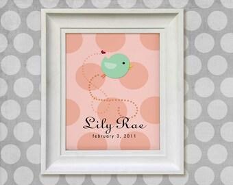 Childrens Art Print - Personalized 11x14 Little Bird Baby Nursery Decor