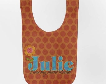 Personalized Baby Bib - Orange Polka Dot Flower, Custom Bib