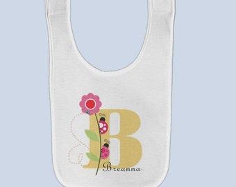 Personalized Ladybug Bib Pink Flower, Custom Baby Bibs