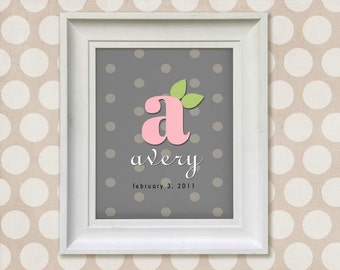 Nursery Art Print - Pink and Gray Monogram 8x10 Personalized Baby Room Decor