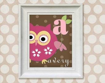 Nursery Art Print - Pink Owl Monogram 11x14 Personalized Baby Room Decor
