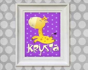 Nursery Art Print - Silly Giraffe 8x10 Personalized Baby Room Decor