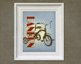 Nursery Wall Art - Retro Tricycle, 8x10 Personalized Print, Baby Room Decor