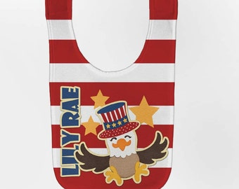Patriotic Baby Bib - Personalized 4th of July Eagle, Custom Infant Bibs