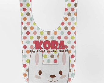 Easter Baby Bib - Personalized Pink Polka Dot Bunny, Custom Infant Bibs
