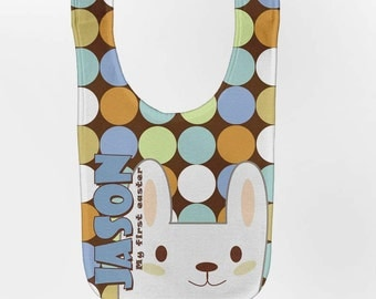 Easter Bib - Personalized Baby Boy Bunny, Custom Infant Bibs