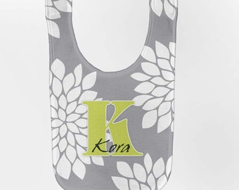 Personalized Baby Bib - Gray Mums Monogram, Custom Infant Bibs