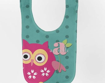 Owl Baby Bib - Personalized Aqua Monogram Infant Bib