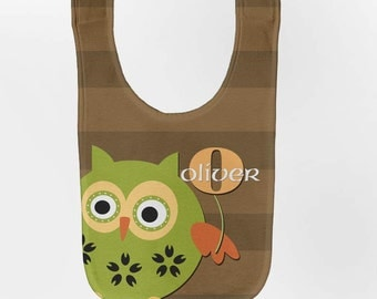 Owl Baby Bib - Personalized Woodland Infant Bib