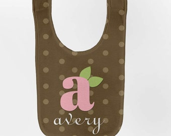 Monogram Baby Bib - Personalized Infant Girl Brown Polka Dot Bib
