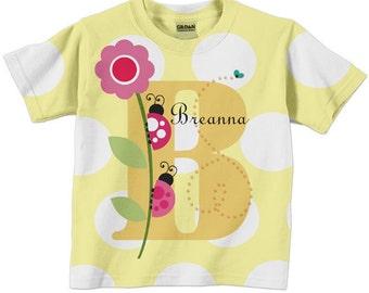 Personalized Ladybug Shirt, Girls Monogram T-shirt, Childrens Clothing