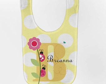 Personalized Baby Bib, Ladybug Monogram Polka Dot Girl's Bib