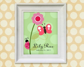 Nursery Art Print - Pink Butterfly 8x10 Personalized Baby Room Decor