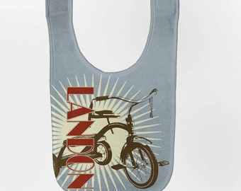 Personalized Baby Bib, Retro Tricycle Bib
