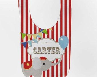 Circus Baby Bib, Personalized Elephant Carnival Bib