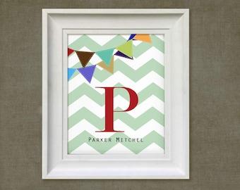 Nursery Art Print - Chevron Banner  - 11x14 Personalized Red Monogram Baby Room Decor