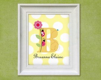 Nursery Art Print - Ladybug Monogram 11x14 Personalized Baby Room Decor