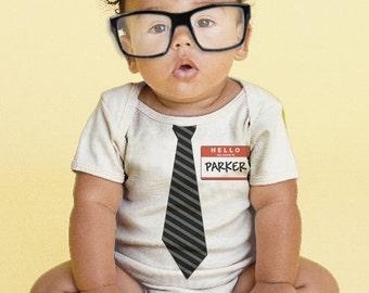 The New Guy - Tie Baby Bodysuit, Personalized Boy's Geek, Geekery Onepiece, Custom Boy's Tie One Piece, Baby Boy Clothing