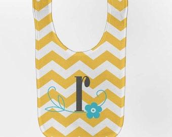 Baby Bib, Yellow Chevron - Personalized  Monogram, Custom Infant Bibs