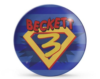Superhero Birthday Plate, Personalized Children's Melamine Plate