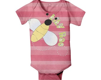 Bumble Bee Bodysuit, Personalized Baby Girl One-Piece Outfit, Infant Clothing