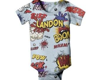 Personalized Comic Superhero Bodysuit, Custom Boom Pow Baby Boy Geekery, One Piece Clothing, Shirt