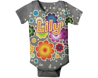 Personalized Children Clothing, Baby Girl One-Piece, Gray Bubble Flowers