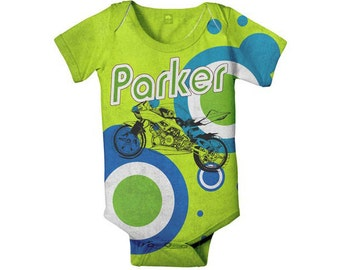 Baby Boy Motorcycle Bodysuit, Personalized, Custom One Piece Baby Clothing, Onepiece Shirt