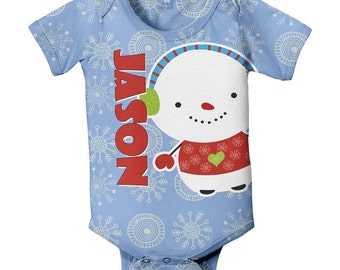 Baby's First Christmas Bodysuit, Snowman Personalized Boys One-Piece Holiday Clothing