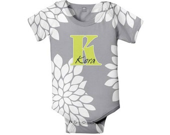 Mums Monogram Baby Bodysuit, Personalized Grey, Infant Girl One-Piece