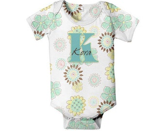 Monogrammed Baby Girl Bodysuit, Personalized Retro Floral  Romper