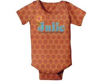 Personalized Infant Bodysuit, Girl's Orange Polka Dots One-Piece
