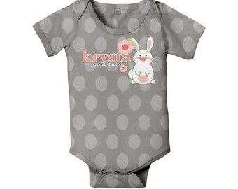 Baby's First Easter Bodysuit, Personalized Bunny One-Piece Outfit
