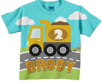 Personalized Dump Truck Birthday Shirt, Boys Construction T-Shirt
