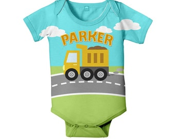 Dump Truck Baby Bodysuit, Personalized Construction Infant Boy's One Piece Outfit, Custom Onepiece Baby Clothing