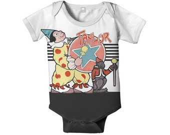 Circus Baby Bodysuit, Personalized Baby Snapsuit, Carnival Elephant and Clown, One Piece